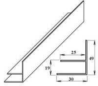 PVC okrajový F-profil 16 mm bílý