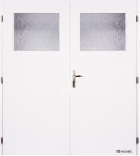 Dvoukřídlé dveře Masonite 1/3 sklo hladké bílé