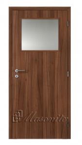Jednokřídlé laminované dveře Masonite 1/3 prosklené ořech