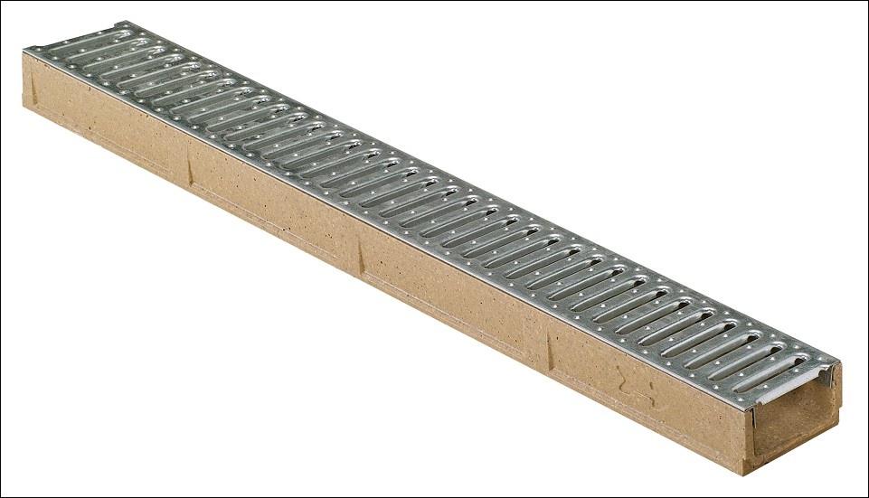 MEA Water MEA odvodňovací žlab SELF LINE 100/55 s ocelovým roštem 1 m