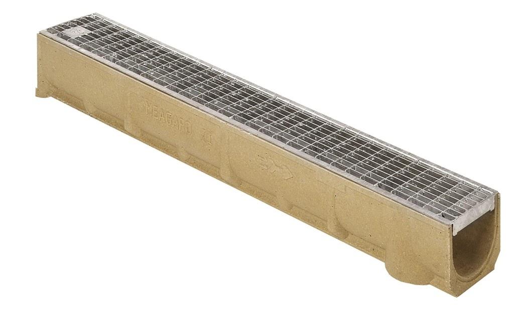 MEA Water MEA odvodňovací žlab SELF LINE 100/110 s ocelovým mřížkovým roštem 30/10 mm 1 m